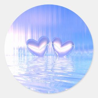 De blauwe Harten van de Flikkering Ronde Sticker