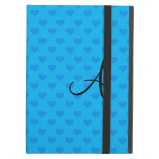 De blauwe harten van het monogram iPad air hoesje