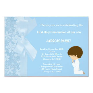 De blauwe Heilige Communie van Bloemen Kaart