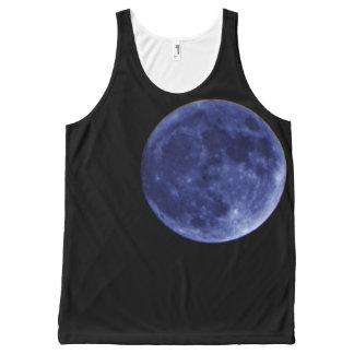 De blauwe hemel van de volle maan zwarte nacht All-Over-Print tank top