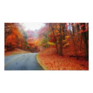 De blauwe Herfst van het Brede rijweg met mooi aan Foto Afdruk