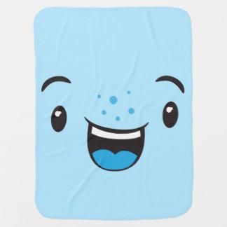 De blauwe het Glimlachen Deken van het Baby van Inbakerdoek