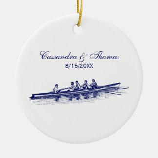 De blauwe het Roeien Sporten van het Water van het Rond Keramisch Ornament