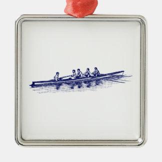 De blauwe het Roeien Sporten van het Water van het Zilverkleurig Vierkant Ornament
