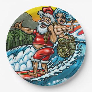 De blauwe het Surfen van Kerstmis Hawaiiaanse Papieren Bordje