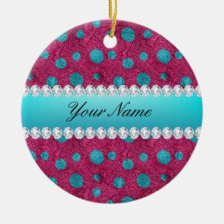 De blauwe Hete Roze Diamanten Faux van Stippen Rond Keramisch Ornament