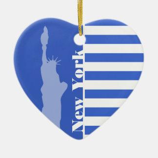 De Blauwe Horizontale Strepen van Han; New York Keramisch Hart Ornament