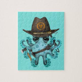 De blauwe Jager van de Zombie van de Octopus van Foto Puzzels
