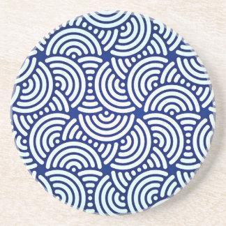 De blauwe Japanse Kromme van Deco Zandsteen Onderzetter