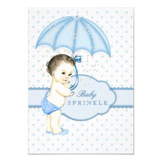 De blauwe Jongen van de Paraplu bestrooit Baby Kaart