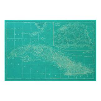 De blauwe Kaart van Cuba Hout Afdruk