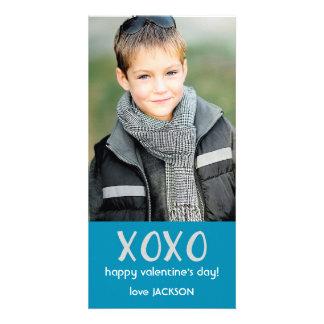 De blauwe Kaart van de Foto van XOXO Valentijn Foto Wenskaarten