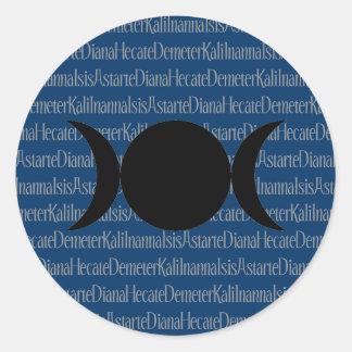 (De blauwe) Kantiek van de godin Ronde Sticker