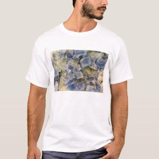 De blauwe Kristallen van het Fluoriet in Matrijs T Shirt