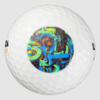 De blauwe lagune-Hand schilderde Abstracte Golfballen