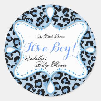De Blauwe Luipaard van de Jongen van het Baby Ronde Stickers