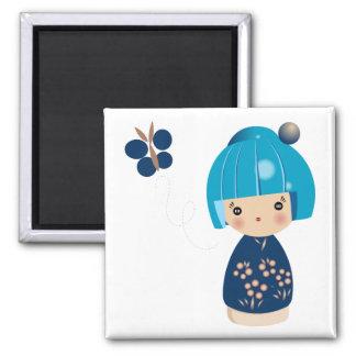 De blauwe Magneet van het Drietal Kokeshi