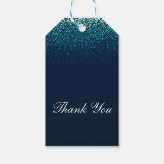 De blauwe Marine Aqua schittert Zoete Partij 16 Cadeaulabel