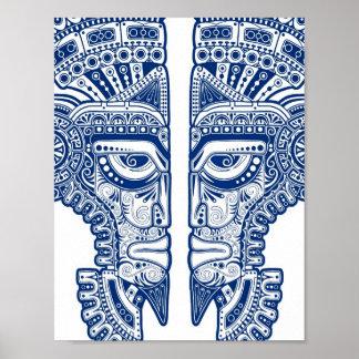 De blauwe Mayan Illusie van het Masker van Tweelin Poster