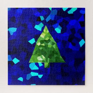 De blauwe Moderne Kerstboom van de Vakantie van Legpuzzel