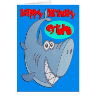 De blauwe Negende Verjaardag van de Haai Briefkaarten 0