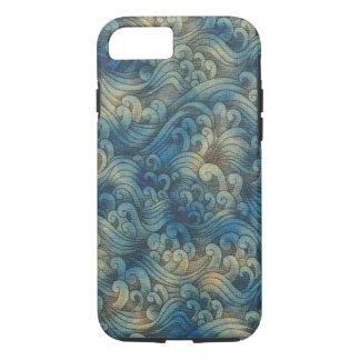 De blauwe OceaanGolven Verouderde Kleur van het iPhone 7 Hoesje