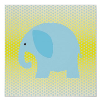 De Blauwe Olifant van het baby op Geel Poster