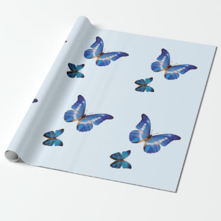 De blauwe Omslag van de Gift van Vlinders Morpho Cadeaupapier