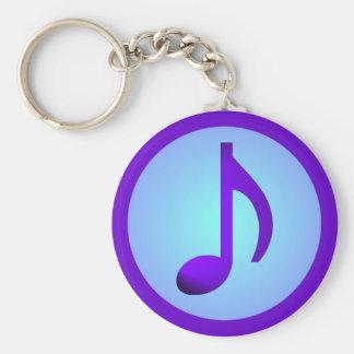 De blauwe Paarse Enige Elegante Nota van de Muziek Sleutelhanger