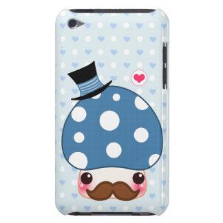 De blauwe paddestoel van Kawaii met snor iPod Touch Hoesje