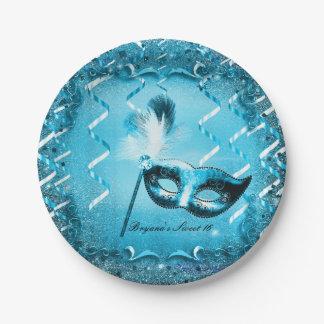 De blauwe Partij van de Bal van het Masker van de Papieren Bordje