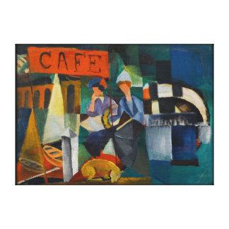 De blauwe Reproductie van de Kunst van de Koffie Canvas Afdruk