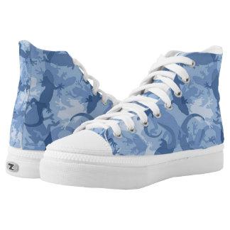 De blauwe ReptielSchoenen van de Camouflage High Top Schoenen