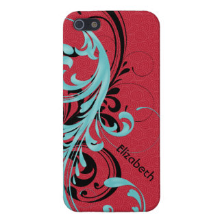 De Blauwe, Rode, Zwarte Golvende Rol van Aqua Bloe iPhone 5 Covers