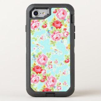 De blauwe Roze Wijnoogst nam toe OtterBox Defender iPhone 8/7 Hoesje