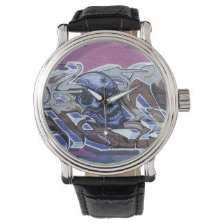 De blauwe Schedel Graffiti van de Domoor Horloge