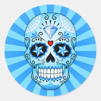 De blauwe Schedel van de Suiker van de Diamant Ronde Sticker