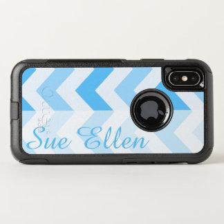 De blauwe Sjabloon van de Naam van de Chevron OtterBox Commuter iPhone X Hoesje