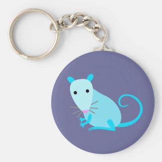 De blauwe Sleutelring van de Rat Basic Ronde Button Sleutelhanger
