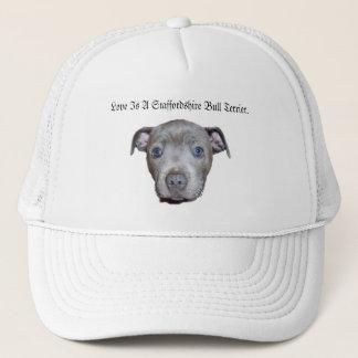 De blauwe Staffordshire Bull terrier Liefde van Trucker Pet