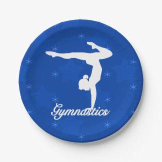 De Blauwe Sterren van het Meisje van de gymnastiek Papieren Bordje