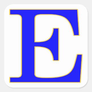 De blauwe Sticker van de Brief E