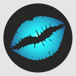 De blauwe Stickers van Lippen