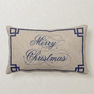 De blauwe Tekst & het Beige Linnen huwen Kerstmis Lumbar Kussen