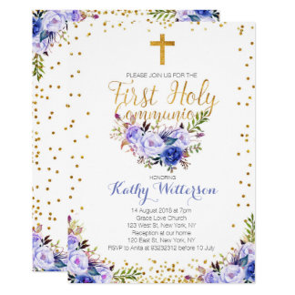 De blauwe Uitnodiging van de Heilige Communie van