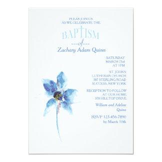 De blauwe Uitnodiging van het Doopsel van de Bloem 12,7x17,8 Uitnodiging Kaart
