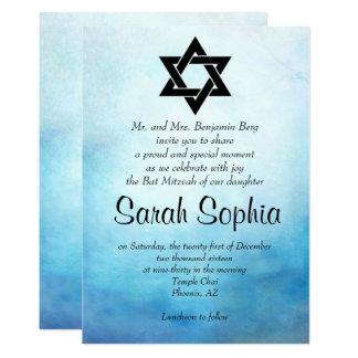 De blauwe Uitnodiging van Mitzvah van de Knuppel,