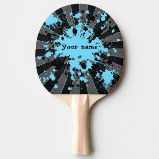 De blauwe verf ploetert gepersonaliseerd zwart en tafeltennis bat