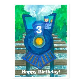 De blauwe Verjaardag van de Trein van de Stoom Briefkaart