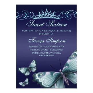 De blauwe Verjaardag van de Vlinder Sweet16 & van 11,4x15,9 Uitnodiging Kaart